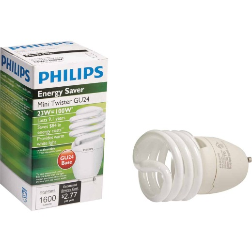 Philips Energy Saver 100W Equivalent Warm White GU24 Base Spiral CFL Light Bulb