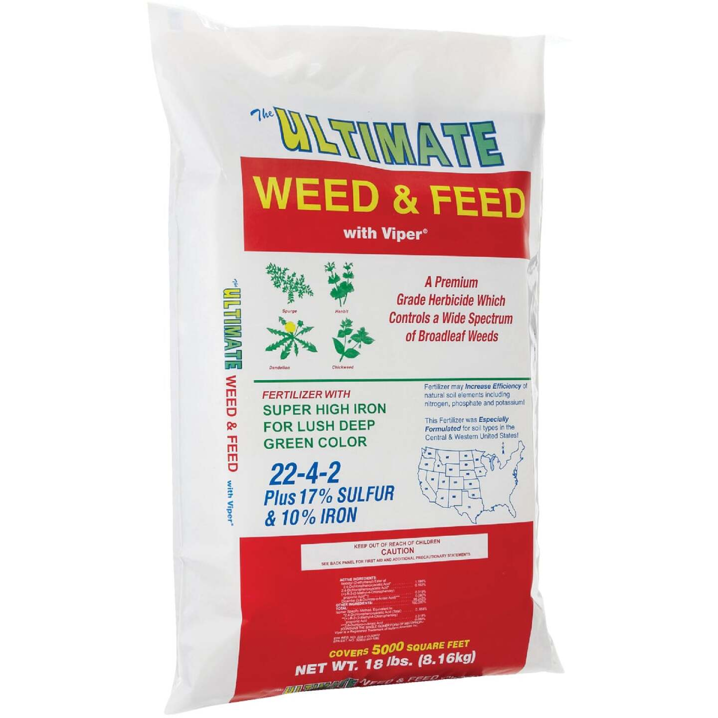 Ultimate Weed & Feed 18 Lb. 5000 Sq. Ft. 22-4-2 Lawn Fertilizer with Weed Killer Image 1