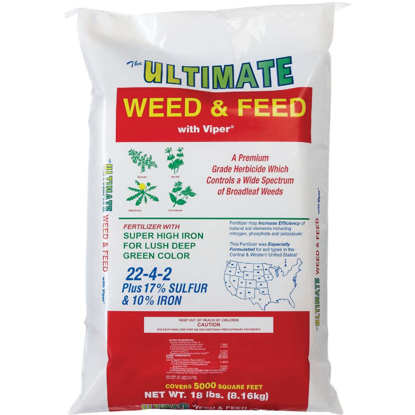 Ultimate Weed & Feed 18 Lb. 5000 Sq. Ft. 22-4-2 Lawn Fertilizer with Weed Killer Image 2